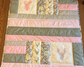 Handmade Baby-Toddler-Quilt-pink-gray-patchwork-deer head-applique