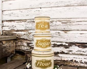 Vintage White Cannister Set ~ Flour Sugar Tea ~ Early 1900s ~ Farmhouse Country Chic Style Decor ~ Rare Set