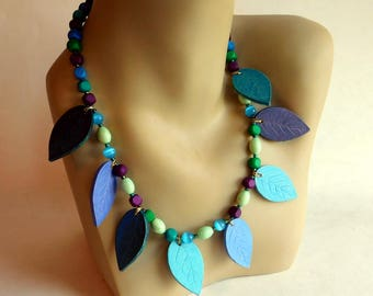 Hand-Crafted Beaded Necklace w/ Ceramic Leaf Dangle Beads - Blue, Green, Purple - 20 Inches - Matte Finish  - Fun OOAK Artisan Made Jewelry