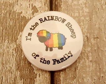 5 x Badges, Rainbow sheep, LGBT, Gay badge, Rainbow badge, Pride badge, Gay pride, funny badge, Gay pride badge, LGBT pride, Lesbian badge
