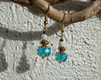 Earrings ethnic turquoise blue and white metal Golden