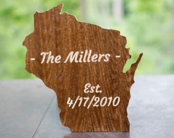 Wisconsin State Shape with customizable engraving