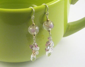 Glass rounds with clustered Swarovski crystals and clear glass briolettes