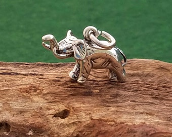 Sterling Silver Elephant Necklace, Silver Small Elephant Charm, Silver 3D Elephant Necklace, Animal Necklace, Good Luck Charm Necklace