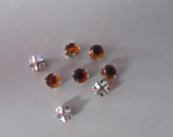 set of 36 rhinestones set sewing 4 round shapes - Topaz - 4 mm