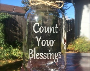 Blessings Jar, Thankful Jar,  Mason Jar, Quart Mason Jar