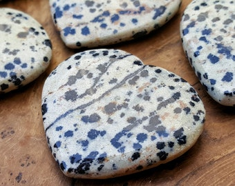 Dalmatian Jasper Crystal Heart  - Hand Carved Healing Heart  for Crystal Grids, Energy Work, Readings or Terrarium 188