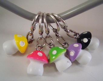 Mushroom Knitting Stitch Markers Magic Mushrooms Fairies Set of 5/SM194