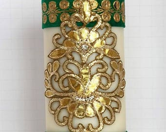 "Pillar Candle; 7"" Tall Handmade; Centerpiece; Decor; Favor;Gifts;Wedding;Shower;Sangeet;Mehendi;Rustic;Ethnic;Indian; Personalized; Packaged"