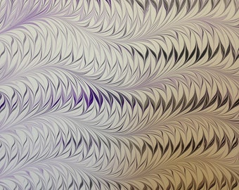 """Marbled Paper, 19"""" x 25"""", Flame pattern"""
