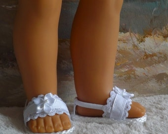 """Doll Sandals for 18"""" doll and 13, 14, and 14.5"""" Handmade Various Other Dolls (You Select Size) White Lace and Ribbon Medley"""