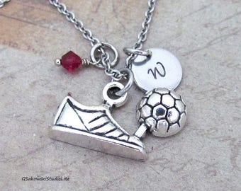 Soccer Shoe and Ball Charm Necklace Personalized Hand Stamped Initial Birthstone  Antique Silver Soccer Ball and Cleat Charm Necklace