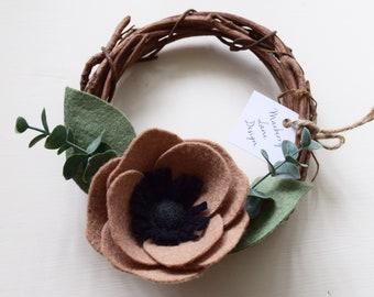 6 Inch Neutral Felt Floral Grapevine Wreath