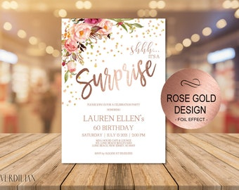 Any Age Surprise Birthday Invitation, Shhh it's a Surprise Birthday Invitation for Women, DIY Printable PDF Instant Download | VRD200DWR