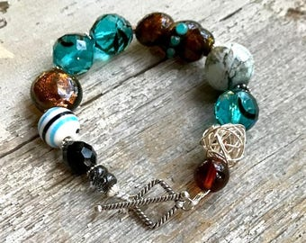 Teal Blue and Brown Bohochic Beaded Bracelet Boutique Wearable Art, Sterling Silver Chunky, For Her Under 180, Free Gift Wrap