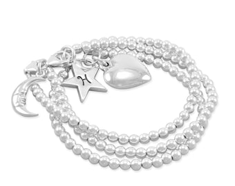 Stacking Set Sterling Silver Bracelets, Moon, Star, Heart, Beads Bracelet, girl child jewllery mother daughter present, mommy and me, HARLOW