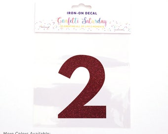 Pink Glitter 2 Decal Second 2nd Birthday Shirt Iron On Transfer Red Two | GLITTER