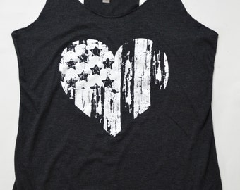 American Flag Heart Tank Top   July 4th   Womens Festival Top   Exercise Gym Tank