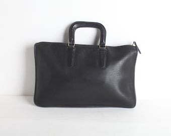 Vintage Coach Black Leather Slim Satchel, Briefcase, Attache