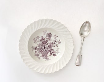 Vintage Clarice Cliff Chelsea Rose Dessert or Soup Bowl, Purple Transferware Plate / Dish by Royal Staffordshire