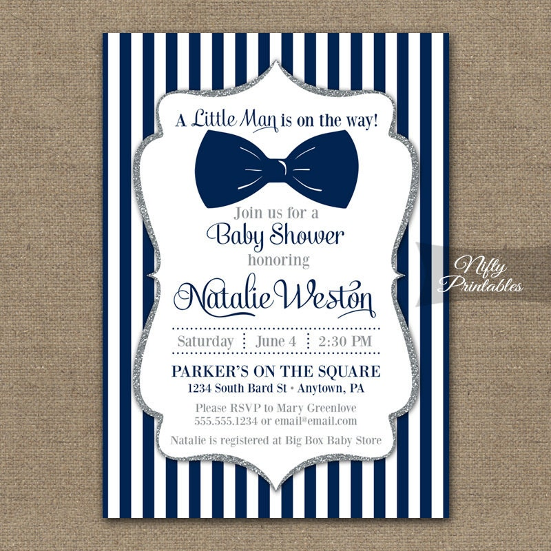Bow Tie Baby Shower Invitations Printable Navy Blue & Silver
