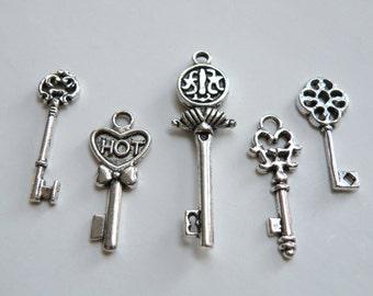 5 Small skeleton key charm collection antique silver 26x11mm to 44x13mm FCW4884-1