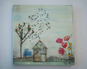 """Encaustic Painting.  """"Grateful"""", Sweet Home collection, Mixed Media, 10x10"""