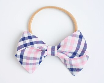 Hair Bow, Bow Headband, Headband, Headbands, Fabric Hair Bow, Hair Clip, Baby Bow, Bow, Nylon Headband, Alligator Clip - Navy And Pink Plaid