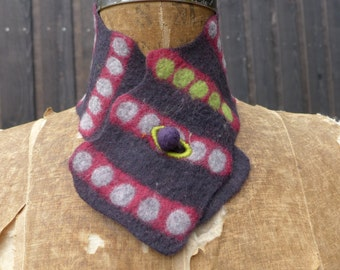 dark charcoal scarflette with stripes and dots