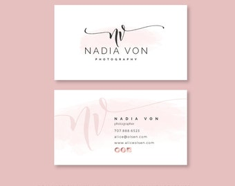 Business Card Design, Premade Business Card Template,  Elegant Business Card, Rose Gold Business Card, Watercolor Business Card