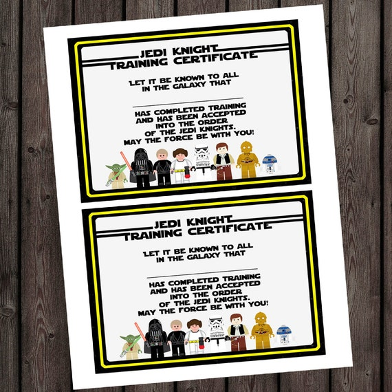 Starwars jedi knight certificate jedi training camp starwars jedi knight certificate jedi training camp certificate instant download at purchase star wars party supplies star wars bday yadclub Gallery