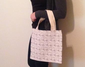 Gray tote bag, Handmade tote, small tote, canvas bag, boho bag, preppy, gift for mom, beach bag, boho chic, teacher, artist