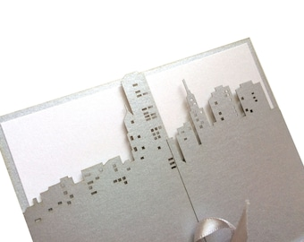 Laser Cut City Wedding Invitation, Metallic Silver or Gold, or Custom Color