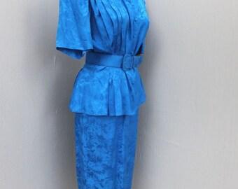 Vintage 80s Silk Suit, ARGENT, Peplum Style w/Belted Waistline, Marine Blue 2 PC Skirt and Blouse, Secretary Dress, Day Dress