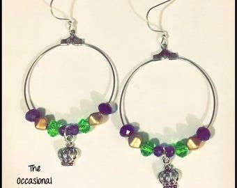 Mardi Gras Crown Earrings