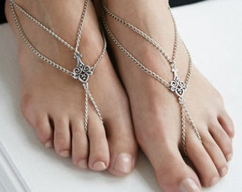 Silver or Gold Double Strand Barefoot Sandals, Anklet, Ankle Bracelet with toe ring, Foot Thong
