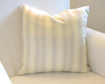 French Stripe Grey Cotton Pillow Cover, 16x16, 12x20, Toss Cushion, Bedding, Light Gray, Natural