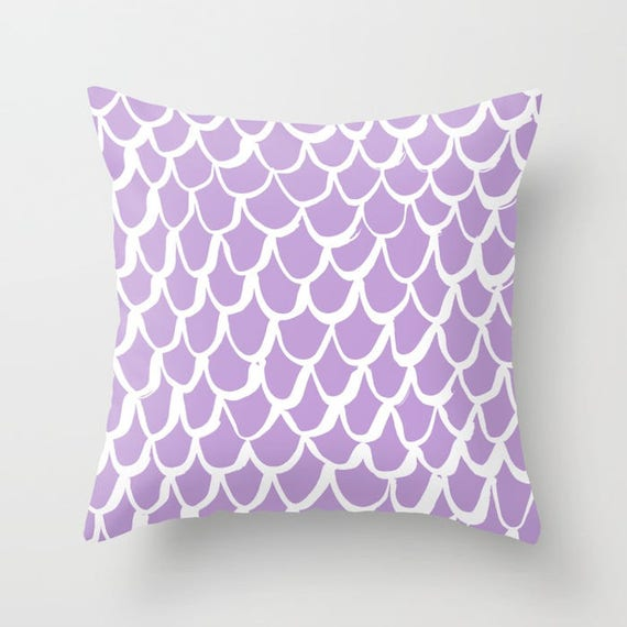 Lavender and White Mermaid Throw Pillow . Lilac Pillow . Amethyst Cushion . Mermaid Pillow . Lavender Pillow . Cushion 14 16 18 20 inch