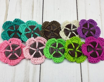 Crochet Flower Buttons, 10 Buttons with Hand Crocheted Flowers, Flowers with Button Centers, Crocheted Embellishments, 1.5 inch size