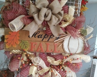 Happy Fall Wispy Wreath