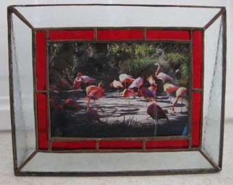 Stained Glass Picture Frame, Red Border