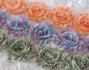 1 yard Skinny Color Grass Patterned  2 1/2 inch- Chiffon Shabby Frayed Rose Trim, Hair Bow. Chiffon Rosettes