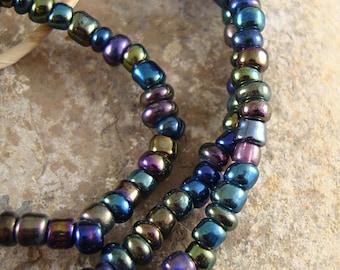 Iridescent Beads, Small Glass Beads, African Glass Bead, Seed Beads, Beads from Ghana, Dark Beads - Blue Purple Green, Strand of Beads