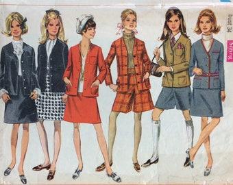 Simplicity 7812 misses jacket, skirt and pantskirt size 12 bust 34 vintage 1960's sewing pattern