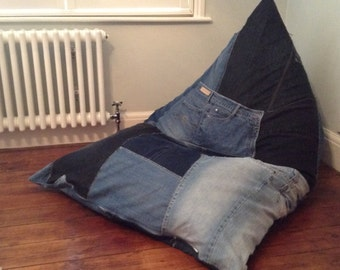 Bean Bag Wedge Chair, Gaming Chair, Floor Cushion. Handmade, Upcycled Denim. Washable Cover. Made to Order, 2 Sizes Available. Ideal Gift
