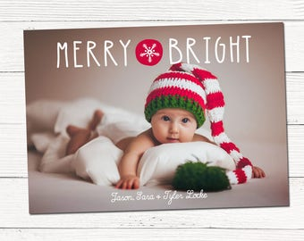 Merry & Bright Christmas Photo Cards, Modern Custom Holiday Photo card, printable christmas card