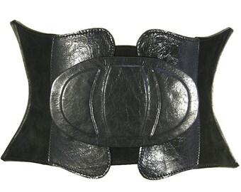 Black leather corset belt Wide waist belt Womens belt Boho belt Wide corset belt Leather womens belt Wide belt Waist cincher Plus size belt