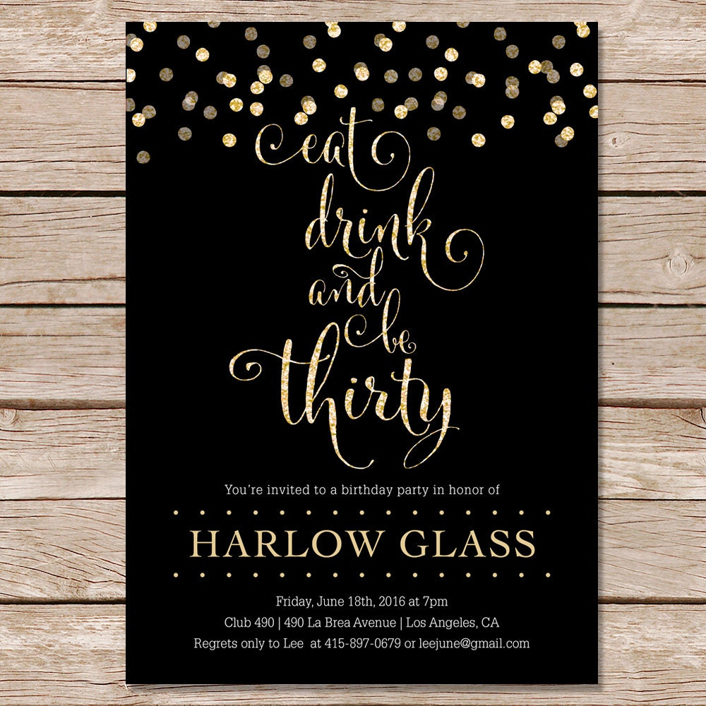 30th Birthday Invitation Glitter Printable