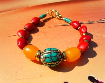 Turquoise inlay Bead Bracelet Bahay seed beads red orange Green