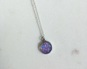 Lilac Druzy Necklace, Druzy Necklace, Druzy Jewellery, Drusy Necklace
